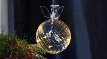 LED sklenený anjel - závesný