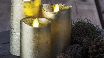 LED sviečky zlaté - pohyblivý knot 3set