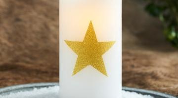 LED sviečka Star gold 15cm