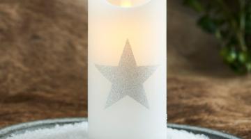 LED sviečka Star silver 15cm