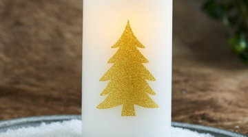 LED sviečka Tree gold 15cm