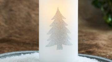 LED sviečka Tree silver15cm
