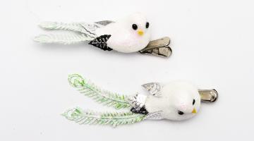 Dekorácia Vtáčik biely