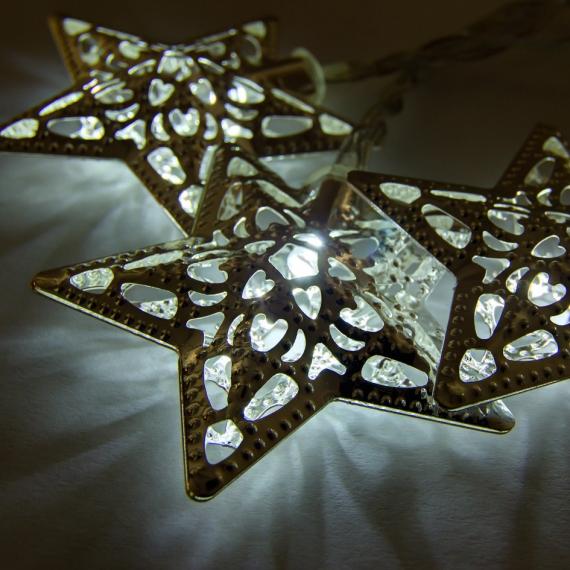 LED svetelná reťaz na batérie - kovové hviezdy