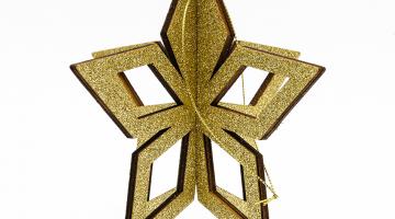 3D Zlatá hviezda 15cm