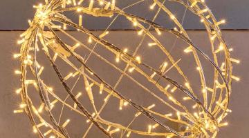 LED svetelná guľa teplá biela